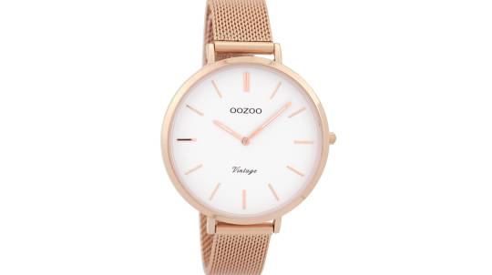 Slim Rose Gold Watch with Mesh Strap