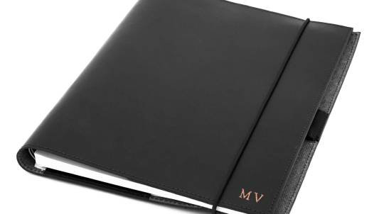 Black Personalised Leather Journal and Business Card Holder