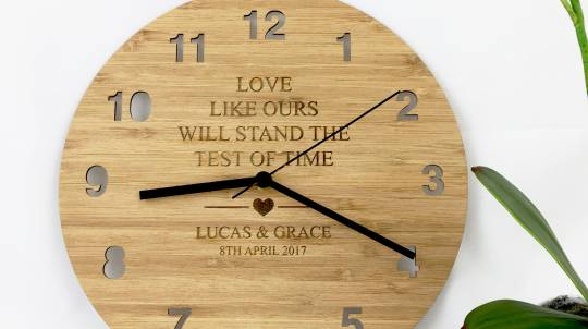 """""""Love Like Ours"""" Personalised Bamboo Clock"""