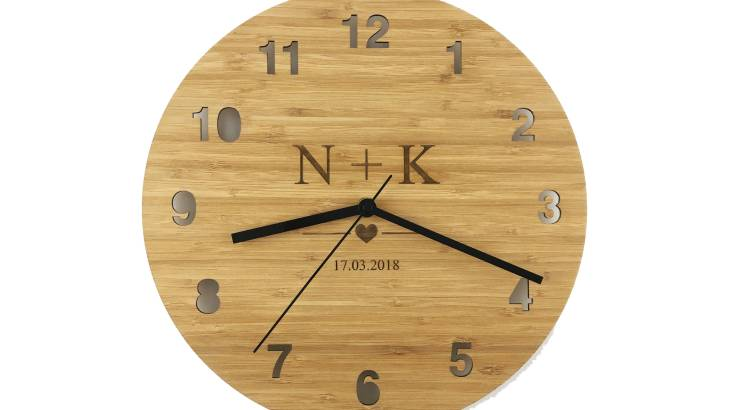 Personalised Bamboo Clock with Initials and Date