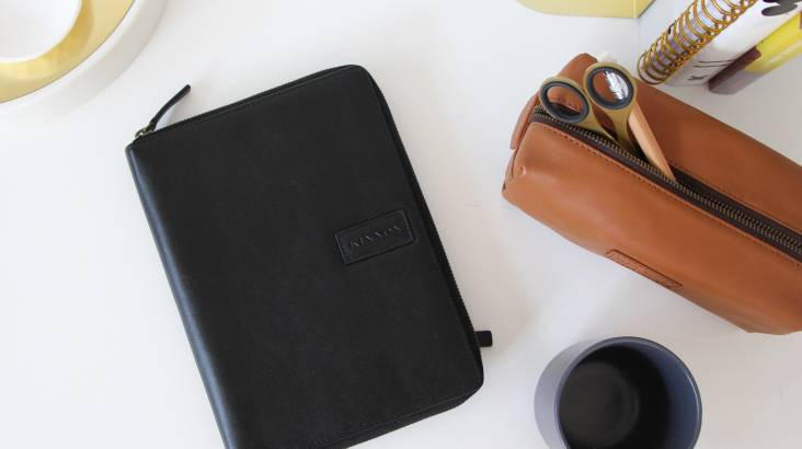 Men's Leather A5 Folio with Notebook - Various Colours