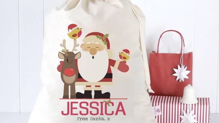 Personalised Santa and Friends Christmas Sack