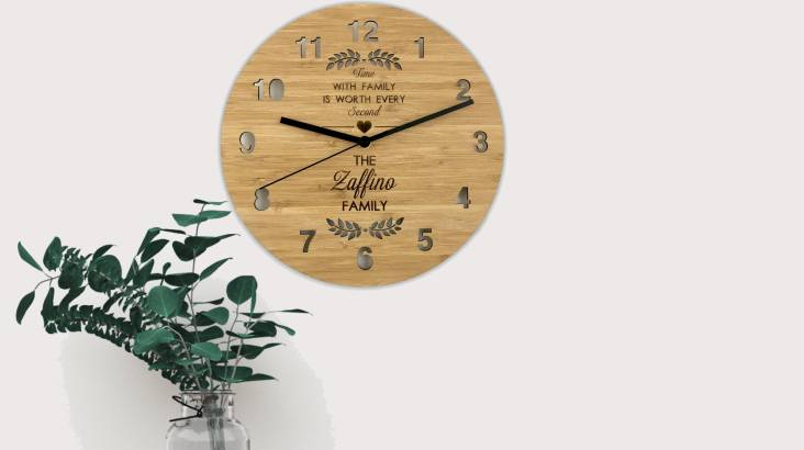 """""""Time with Family"""" Personalised Bamboo Clock"""