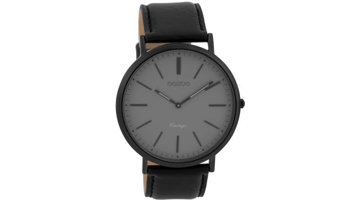Slim Black Watch with Leather Strap
