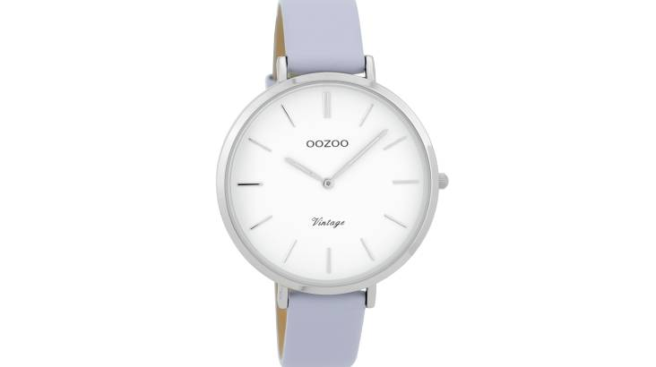 Slim Lilac Watch with Leather Strap