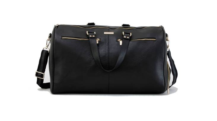 Women's Black Leather Overnight Bag with Gold Makeup Bag