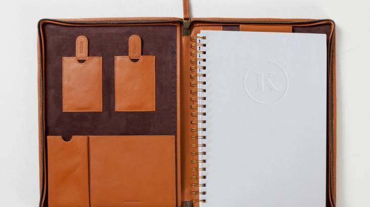 Men's Leather A4 Folio with Notebook - Various Colours