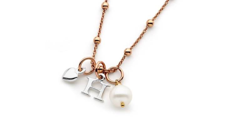 RedBalloon Rose Gold and Pearl Personalised Initial Necklace
