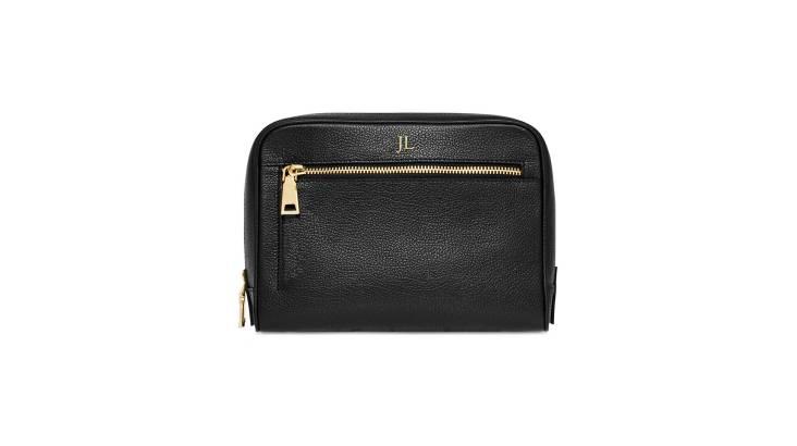 Monogrammed Grainy Leather Wash Bag - Black
