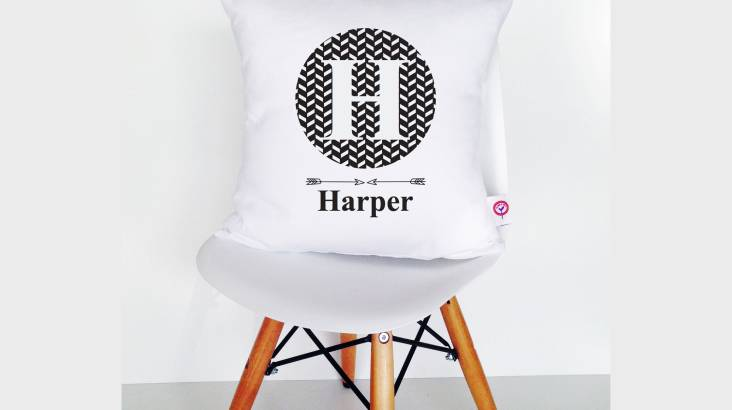 Personalised Kids Monogram Cotton Cushion Cover