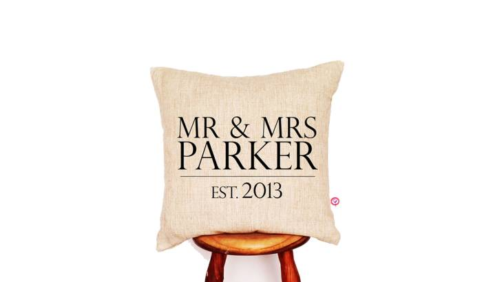Personalised Mr & Mrs Linen Cushion Cover