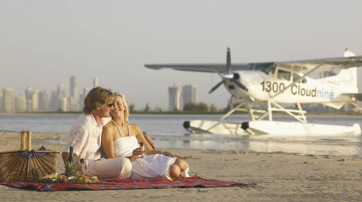 Seaplane Island Picnic with Seafood and Sparkling