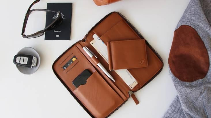 Men's Leather Travel Wallet - Various Colours