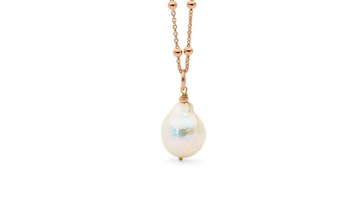 Baroque Freshwater Pearl with Rose Gold Chain