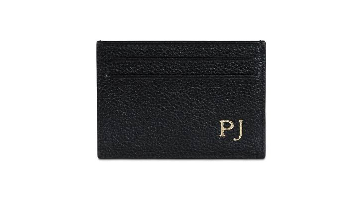 Monogrammed Grainy Leather Card Holder