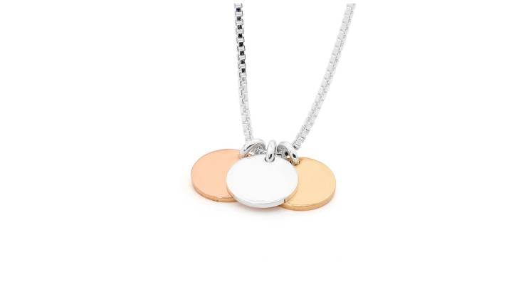 Sterling Silver and Gold Three Tag Necklace
