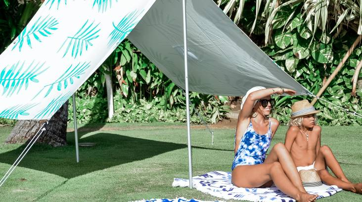 Green Tropical Palm Print Beach Tent