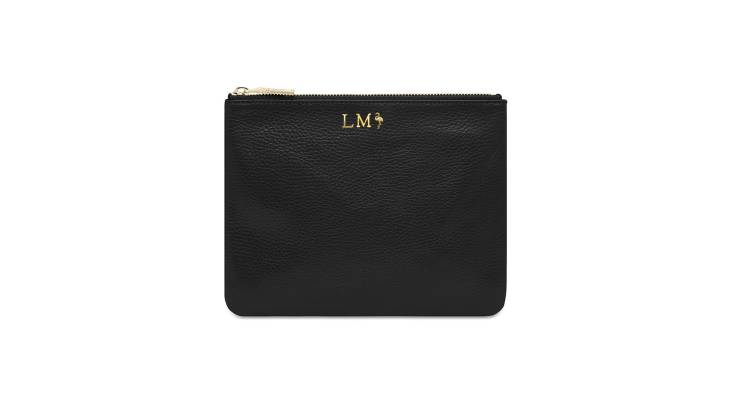 Monogrammed Grainy Leather Pouch - Black