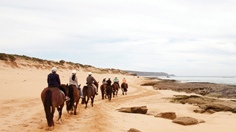 RedBalloon Horse Ride on St Andrews Beach and Hot Springs Bathe - For 2