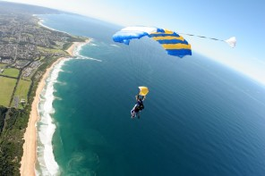 Skydive over the beach Wollongong