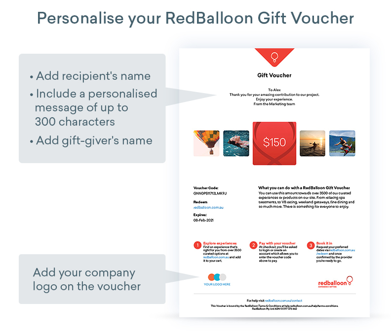 personalised experiential gifting for businesses vouchers more