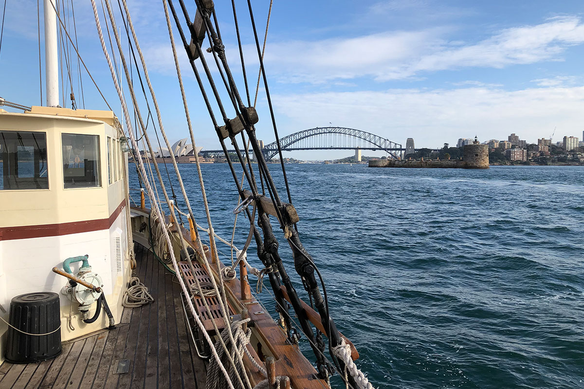 Sailing away from Sydney Harbour Bridge