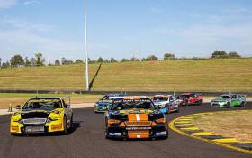 V8 race car driving