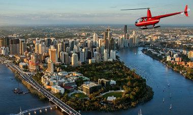 Helicopter Flight over Brisbane City