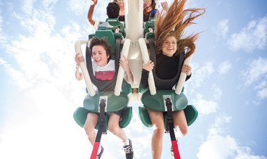 Young boy and girl on ride at Dreamworld