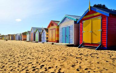 Coloured bathing boxes at Brighton Beach, Mornington Peninsula