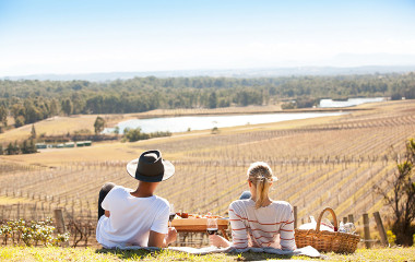 Couple enjoying picnic in the Hunter Valley