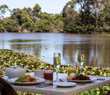sparkling breakfast by the lake