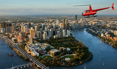 Helicopter Flight over Brisbane City