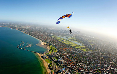 skydive and parachute ride of St Kilda, Melbourne