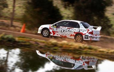 Rally car around dirt track