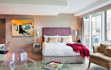 Stylish hotel room in city