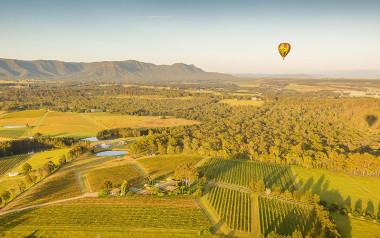 Hot air balloon over Hunter Valley
