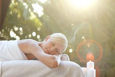 Woman getting a massage outside
