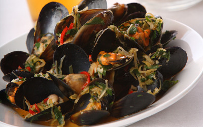 Fresh seafood mussels