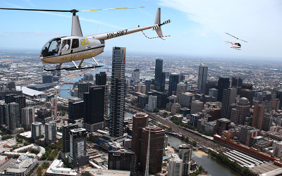 Helicopters flying over Melbourne
