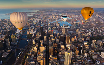 Hot air balloons over Melbourne
