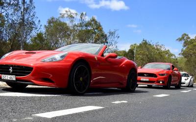 Ferrari mustang and white sports car