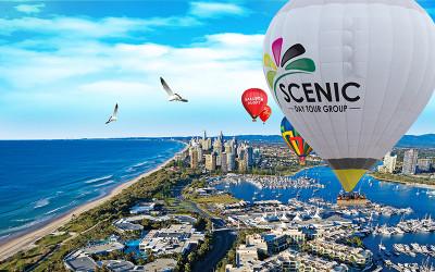 Hot air balloon over Gold Coast