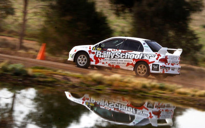 Off road rally car driving