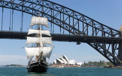 Tall ship cruise Sydney Harbour with mast climb