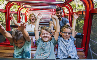 Scenic world family on train