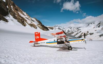 Heli and ski plane flight around Mt Cook with snow landing