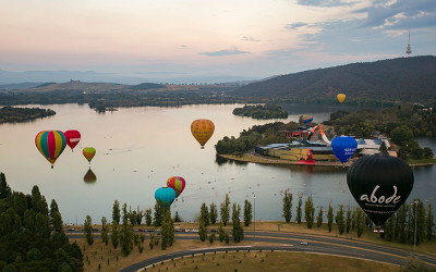 Hot air balloon over Canberra