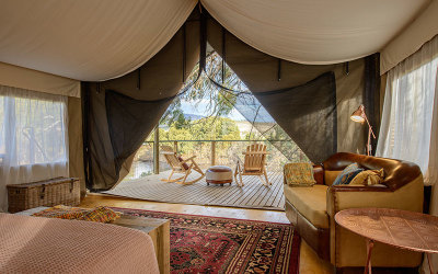 Derwent River glamping tent