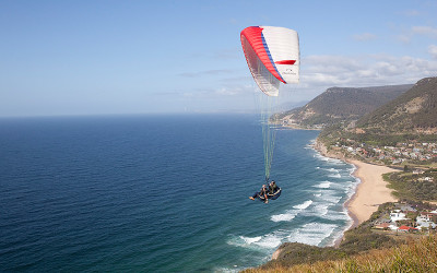 Tandem paragliding over Stanwell Park